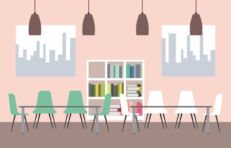 workspace interior - library shelfbook table chairs and windows vector illustration