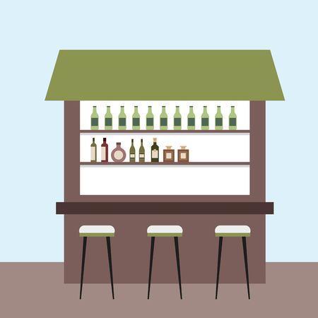 interior booth liquor counter stools vector illustration Illustration