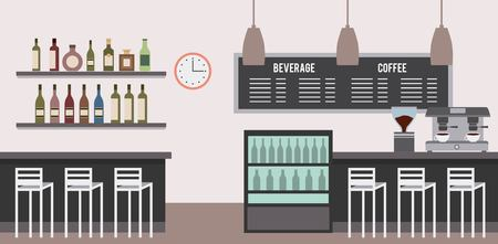interior coffee shop drinks counters cooler menu lamps espresso machine vector illustration