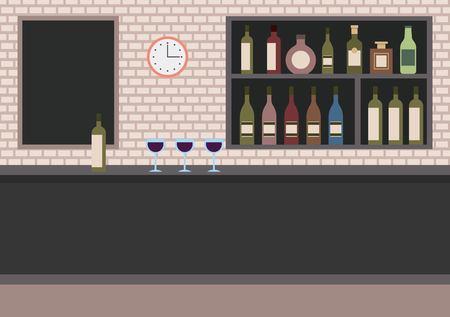 bar restaurant with counter wine cups and shelves with alcohol vector illustration Stock Illustratie