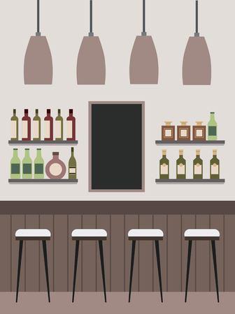 酒瓶の天井ランプ黒板ベクトルイラストとインテリアバーカウンター棚