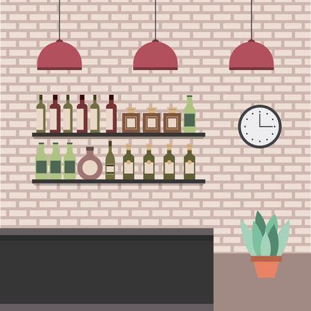 interior bar shop bar counter shelves beverage bottles plnat and brick wall vector illustration Banque d'images - 98251476