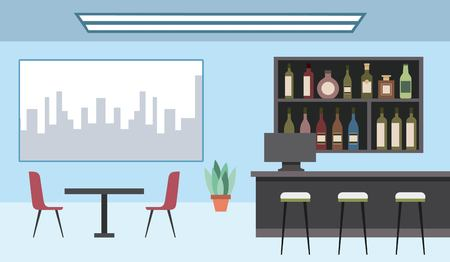 interior coffee shop bar counter shelf bottles and city in the window vector illustration