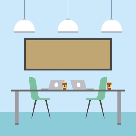 workspace interior - table chairs laptops board clock coffee cups ceiling lamps vector illustration