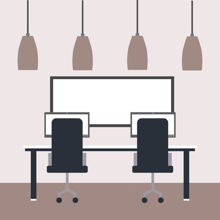 workspace interior - office table laptops chairs board and ceiling lamps vector illustration Ilustração