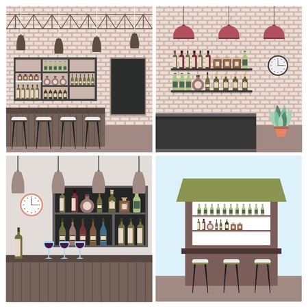 set interior coffee shop bar restaurant vector illustration Çizim