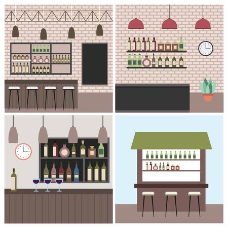set interior coffee shop bar restaurant vector illustration Illustration
