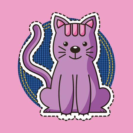cute pink kitty sitting patch decoration vector illustration