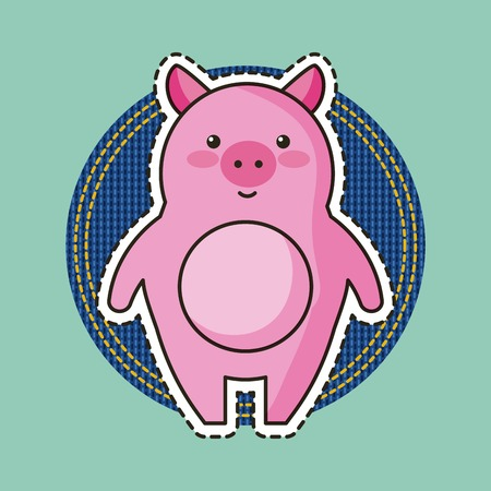 pink piggy cartoon fashion patch vector illustration