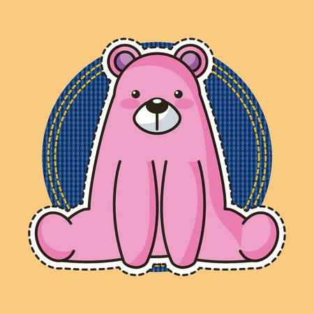 pink bear teddy sit patch sticker fashion vector illustration