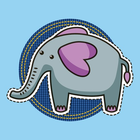 round sticker elephant cute animal patch vector illustration