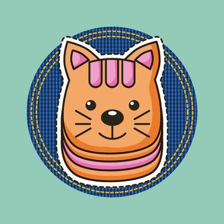 happy cat head decorative patch vector illustration Illustration