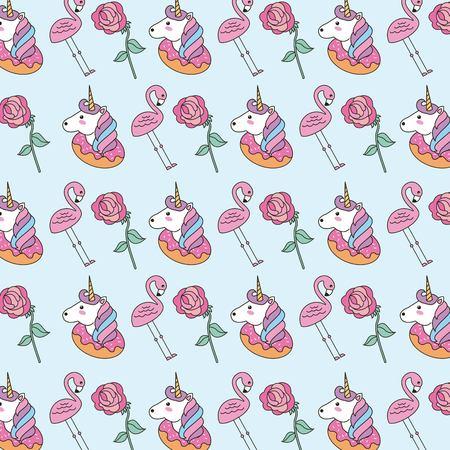 pattern decoration patch unicorn donnut flamingo flower vector illustration