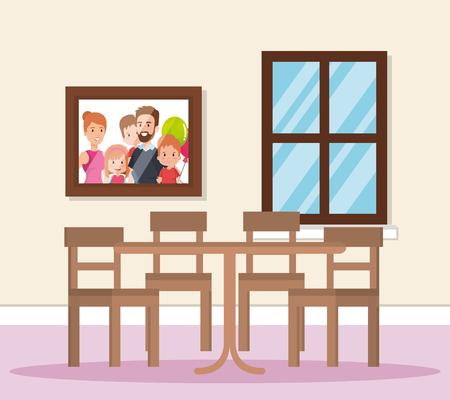 home dining room scene vector illustration design