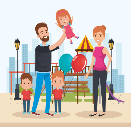 cute family happy in the park characters vector illustration design