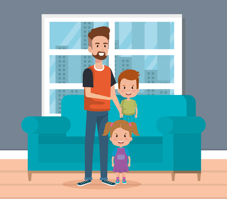 best father in the living room characters vector illustration design Stockfoto