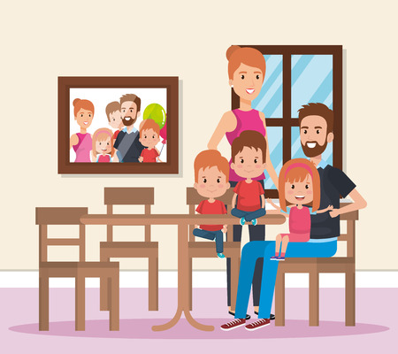 cute family happy in the dining room characters vector illustration design