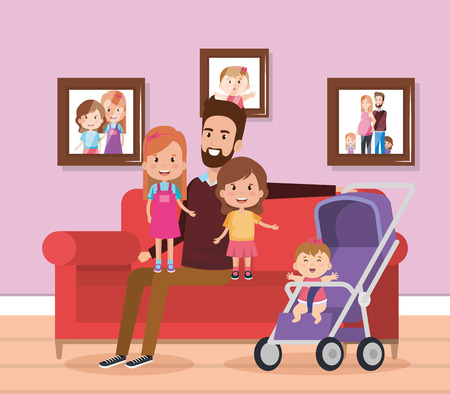 best father in the living room characters vector illustration design Stock Illustratie