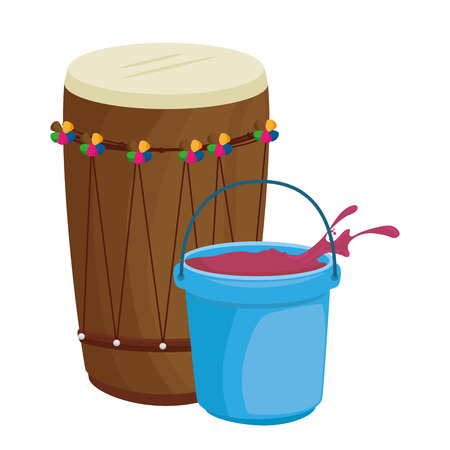 holy drum with color powder in pot vector illustration design