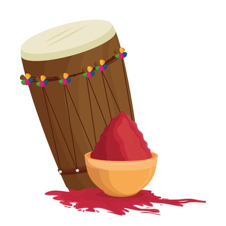 Holy drum with color powder in pot vector illustration design. Illustration