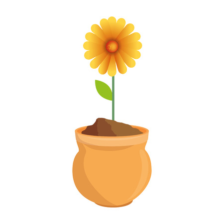 beautiful sunflower in ceramic pot colorful vector illustration design