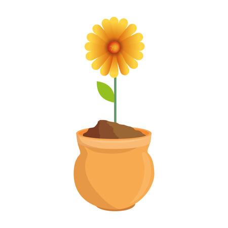beautiful sunflower in ceramic pot colorful vector illustration design