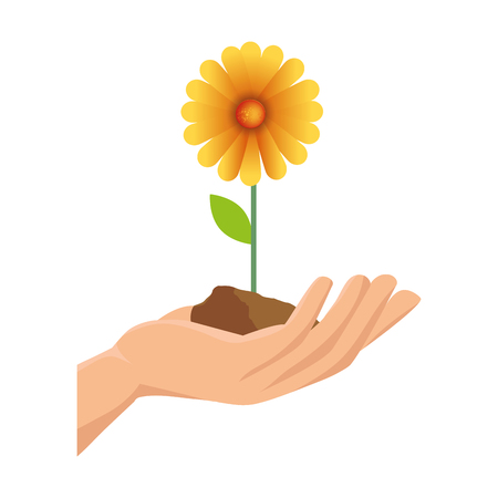 hand with beautiful sunflower colorful vector illustration design Çizim