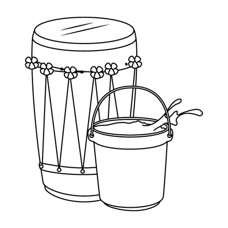 Holy drum with color powder in pot vector illustration design. Иллюстрация