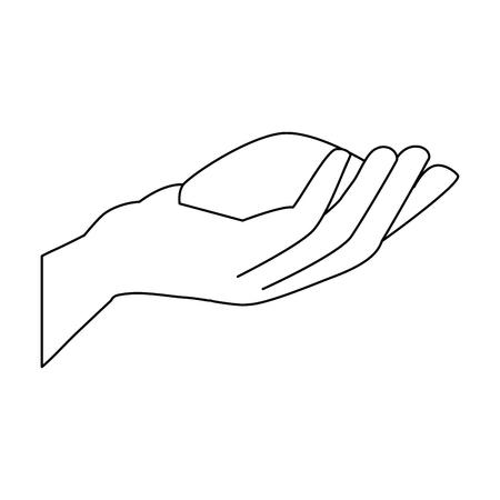 hand with powder holy celebration vector illustration design