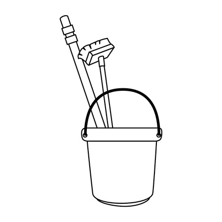 bucket and brush and clean utensil vector illustration design Stock Photo