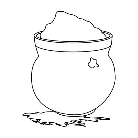cauldron with powder holy celebration vector illustration design Stock Photo