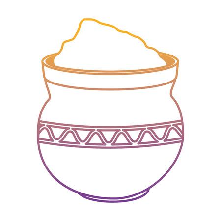 cauldron with powder holy celebration vector illustration design Vettoriali