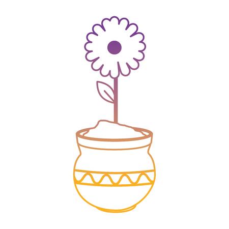beautiful sunflower in ceramic pot vector illustration design