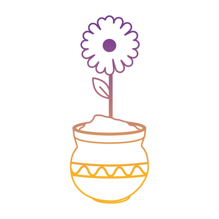 beautiful sunflower in ceramic pot vector illustration design Stok Fotoğraf - 98406323