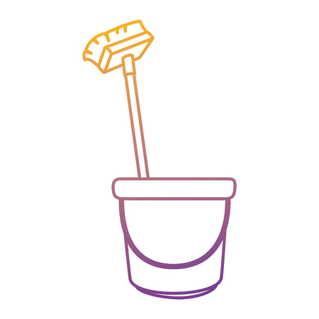 Bucket and brush clean utensil vector illustration design.