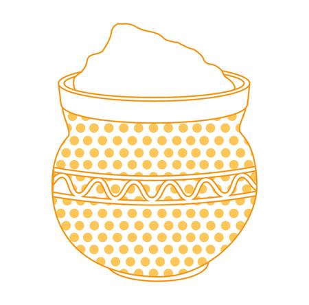 cauldron with powder holy celebration vector illustration design Illustration
