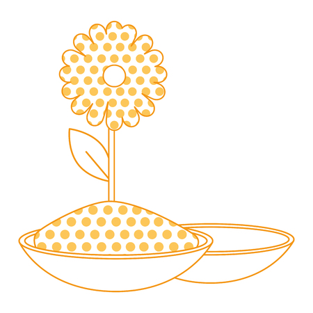 ceramic container with color powder and sunflower holy celebration vector