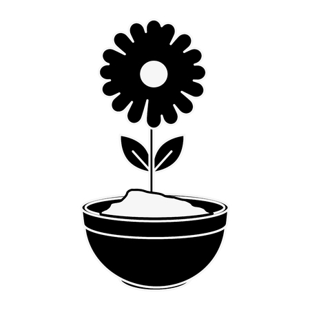 beautiful sunflower in ceramic pot vector illustration design