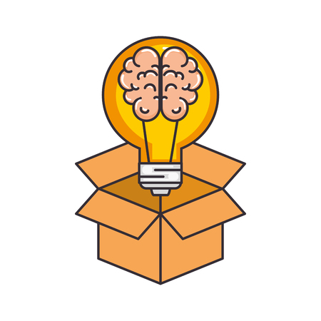 bulb light idea with brain and box vector illustration design Illustration