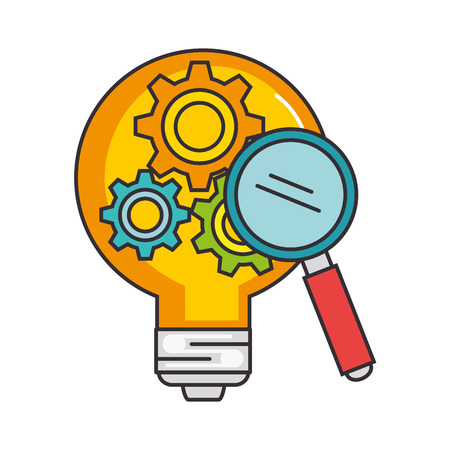 bulb light idea with gears and magnifying vector illustration design
