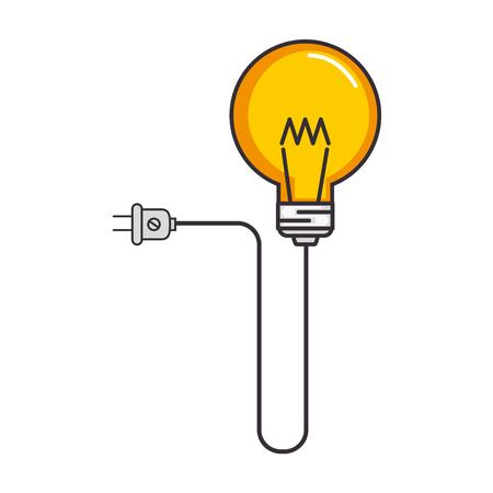 bulb light idea with energy plug vector illustration design