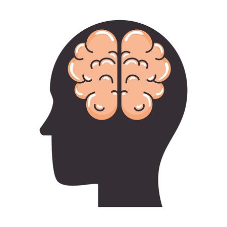 profile with brain human organ icon vector illustration design