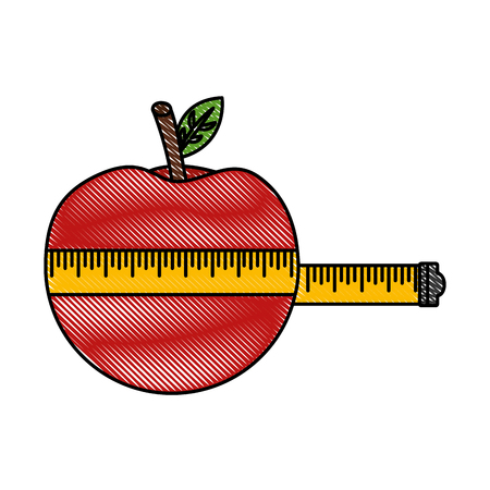 wrapped apple measuring tape weight loss vector illustration drawing color Ilustração