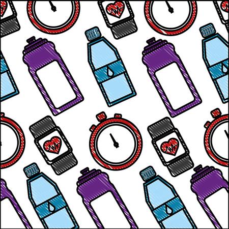 healthy lifestyle sport gym bottle water smart watch chronometer background vector illustration