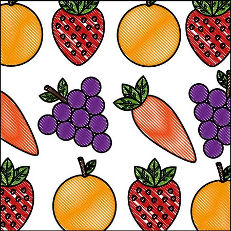 vegetable and fruit healthy lifestyle background vector illustration Foto de archivo - 98516440
