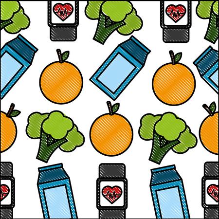 orange broccoli smart watch heart beat healthy lifestyle background vector illustration
