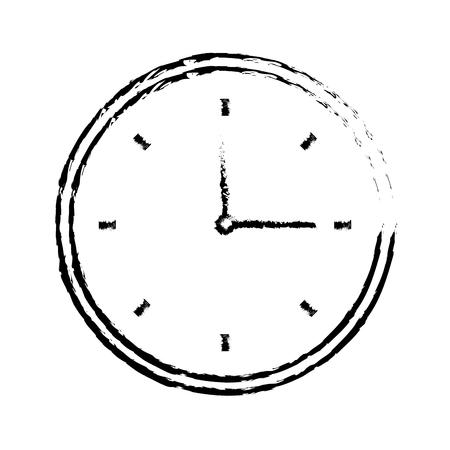 round clock time hour image vector illustration sketch design