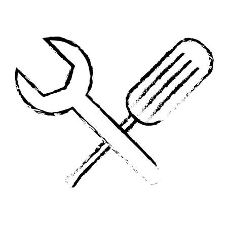 tools support repair screwdriver spanner vector illustration sketch design