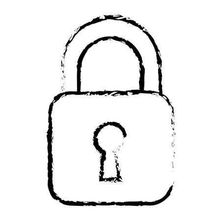 security padlock business technology protection image vector illustration sketch design