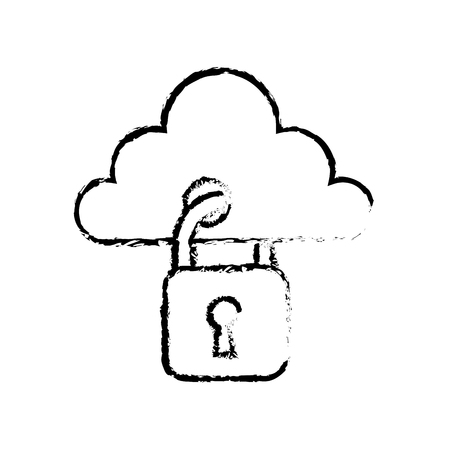 cloud with padlock hanging storage technology security data protection vector illustration sketch design Ilustração